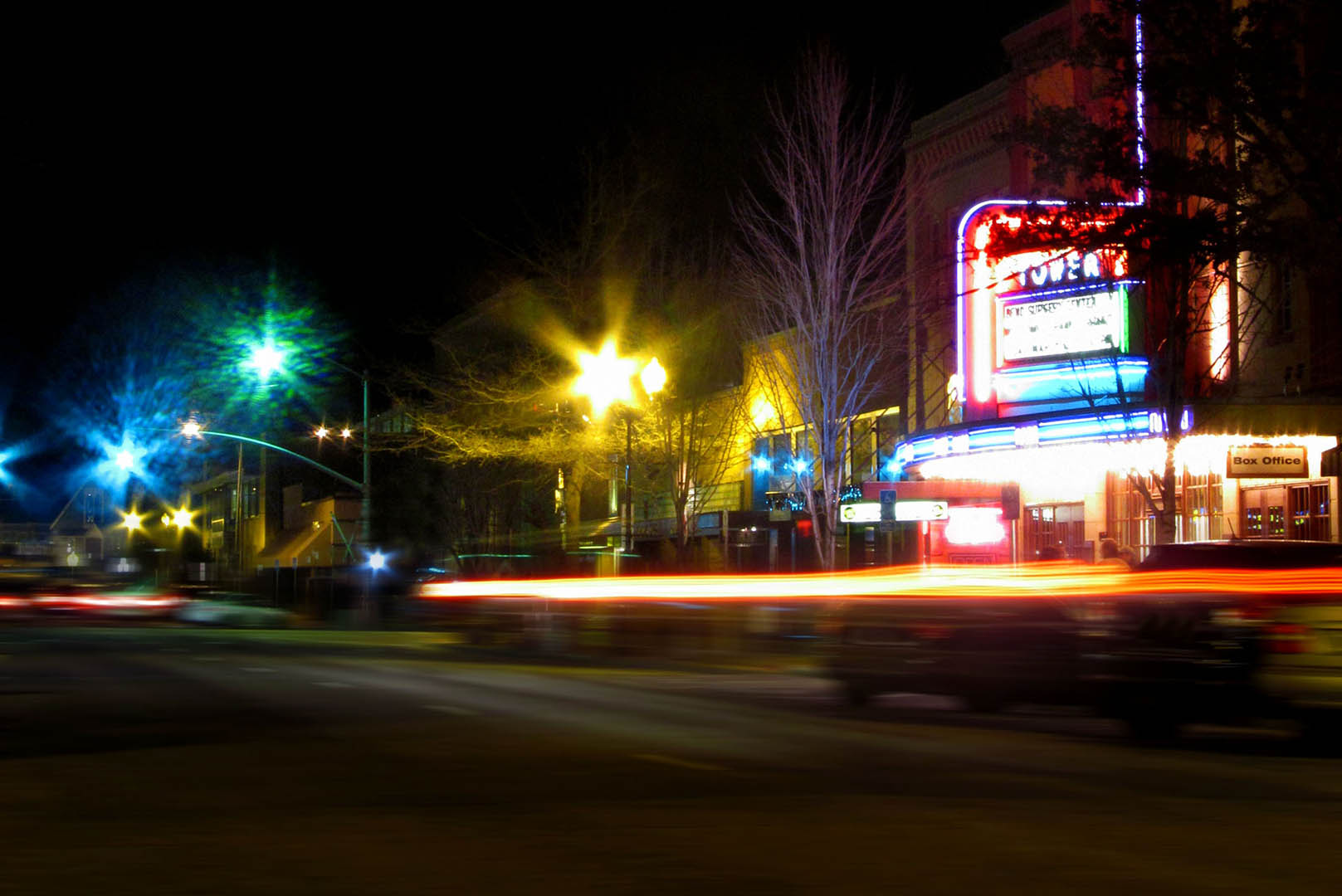 downtown bend at night